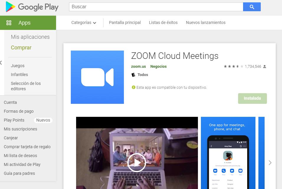 App Zoom Para Android Fuente: Google Play