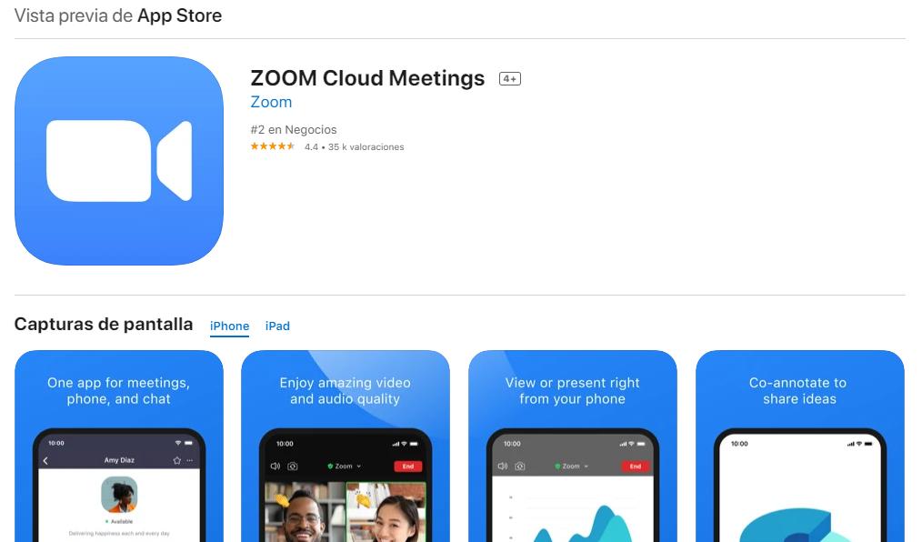 App Zoom Para iPhone Fuente: App Store