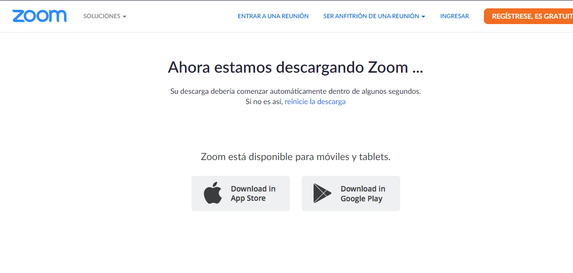 Zoom App Para PC Fuente: Sitio Zoom