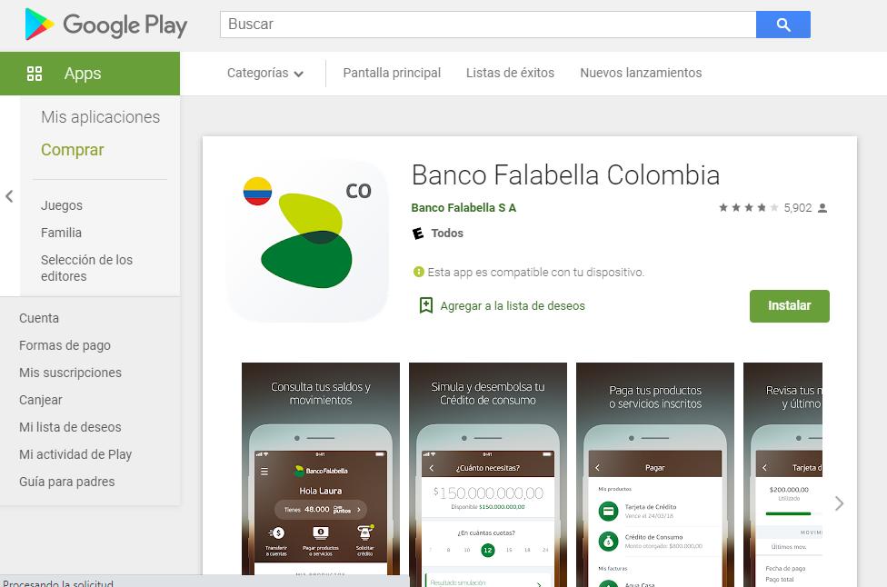 App De Falabella Para Android Fuente: Google Play
