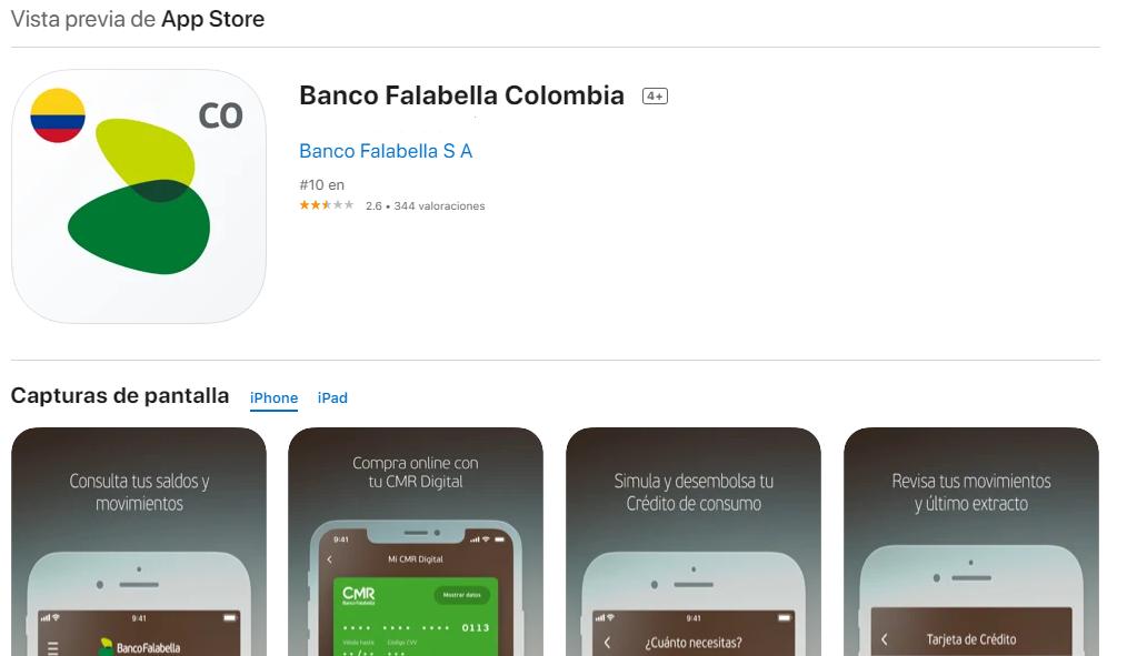 App Del Banco Falabella Para iOS Fuente: App Store